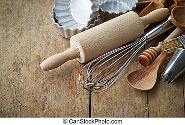 kitchen utensil - various kitchen utensils on wooden table
