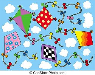Various kites flying on sky - color illustration.