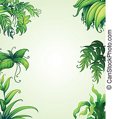 various leaves - illustration of various leaves on green...