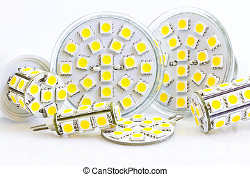 various LED bulbs with 3-chip SMD LEDs