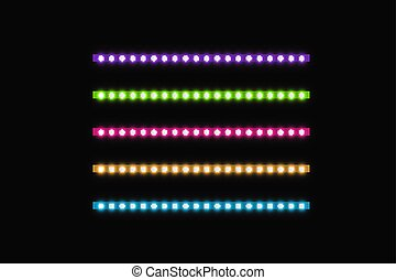 Various LED stripes on a black background, glowing LED garlands. Set of pink, yellow, purple, blue, green glowing decorative tapes of diode ecological lamps light effect for banners, web-sites.