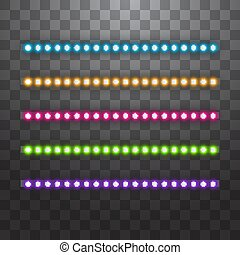 Various LED stripes on transparent background, glowing LED garlands. Set of pink, yellow, purple, blue, green glowing decorative tapes of diode ecological lamps light effect for banners, web-sites.