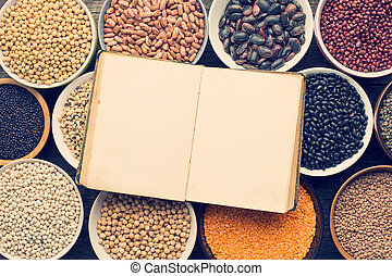 various legumes and blank recipe book