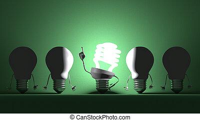 Various light bulbs, moment of insight - Glowing fluorescent...