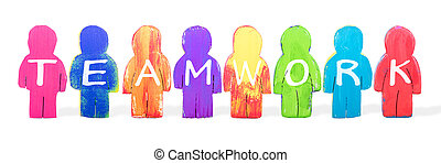 Various man figures with letters teamwork, concept job strategy and success