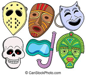 Various masks collection 1 - isolated illustration.