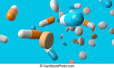 Various medicine and pills on blue background.