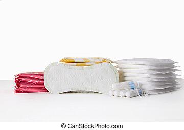 menstrual sanitary cotton pads and tampons