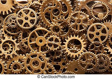 Various metal cogwheels and gear wheels