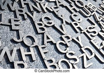 Various metal letters
