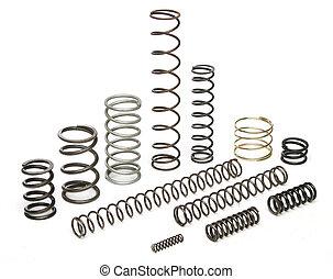 Various metal springs over white