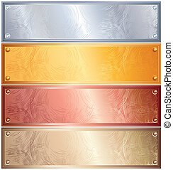 Various Metallic Plates with Rivets. Golden, Silver, Bronze and Copper
