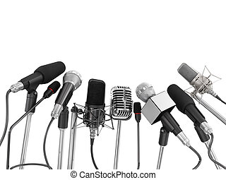 Various microphones aligned at press conference isolated ...
