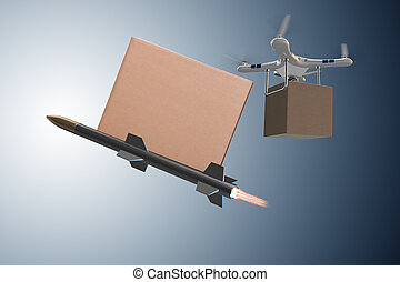 Various modern delivery methods with rockets and drone