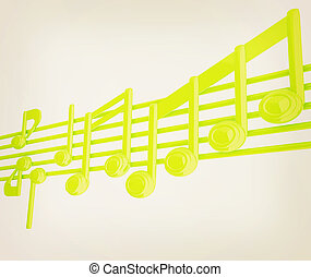 Various music notes on stave. Green 3d. 3D illustration. Vintage style.