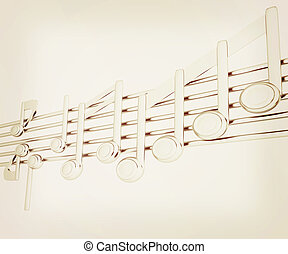 Various music notes on stave. Metall 3d. 3D illustration. Vintage style.