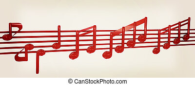 Various music notes on stave. Red 3d. 3D illustration. Vintage style.