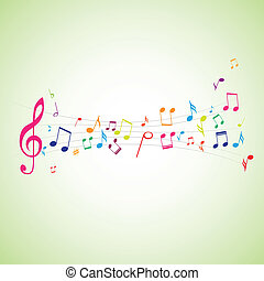 music notes on stave - Various music notes on stave, vector...