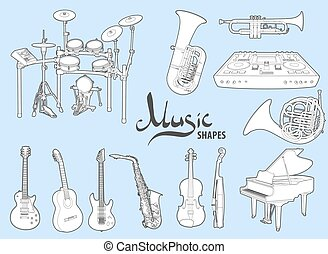 Various musical instruments on a blue background