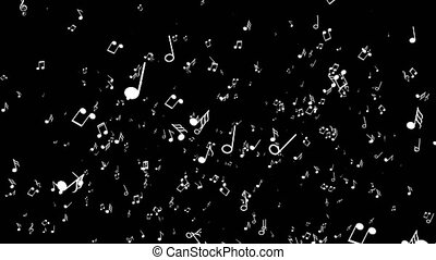 Various musical notes on black background - Various musical...