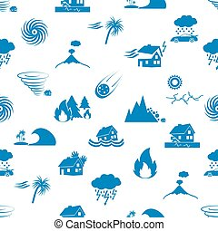 various natural disasters problems in the world blue icons seamless pattern eps10