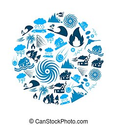 various natural disasters problems in the world blue icons in circle eps10