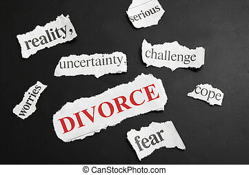 Various newspaper headlines with Divorce in red