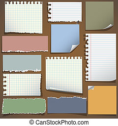 Various notes paper. Vector set, eps10
