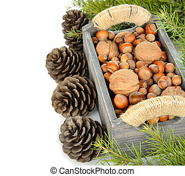 various nuts in a wooden box