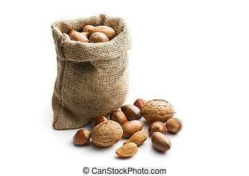 Various nuts in jute bag - the various nuts in jute bag