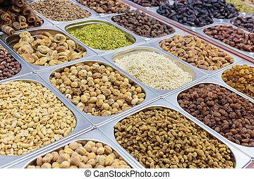 various nuts on display in store