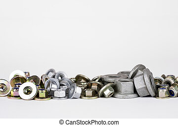 various nuts used in the automotive industry - several types...