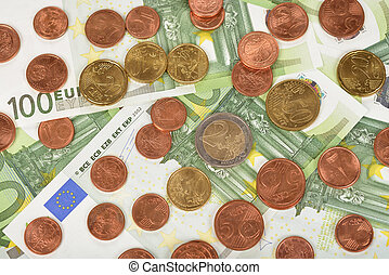 Various of coins and banknotes