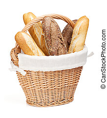 Various of french baguette basket. Isolated on white...