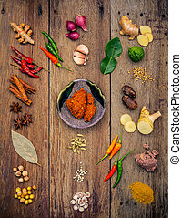 Various of Indian spices and herbs. Cooking ingredients and...