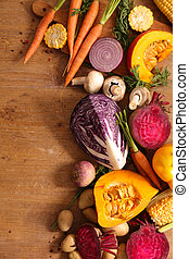 various of raw vegetables