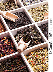 Various of tea in a box