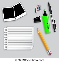 Various office supplies vector illustration on business theme