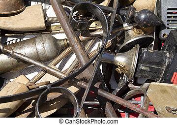 various old junk at a flea market