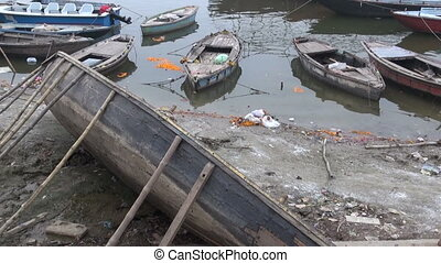 old wooden boats in Ganges river - various old wooden boats...