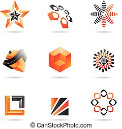 Various orange abstract icons, Set 2