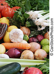 various organic fruit and vegetables