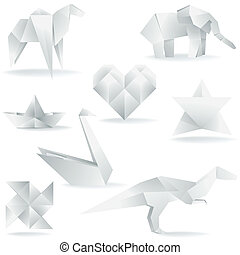 Various Origami Creations - A collection of vector origami ...