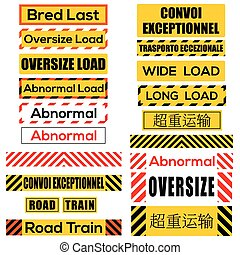 Various oversize load signs and symbols - Various oversize...