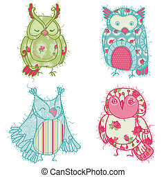 Various Owl Scrapbook Collection - for your design,...