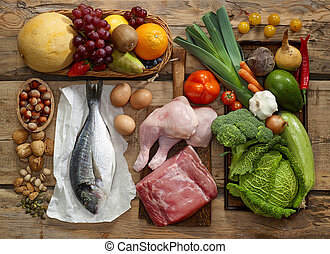 Paleo diet products - Various Paleo diet products on wooden ...