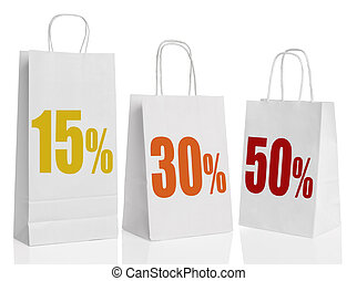 Various paper shopping bags isolate