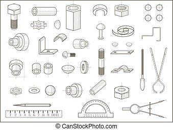 Various parts and tools