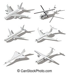 Various passenger aircraft isometric icon set vector graphic...