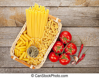 Various pasta, tomatoes and spices
